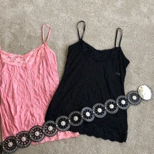 Two Maurice's lingerie tank tops and a waist belt